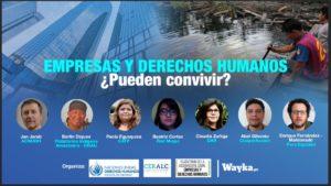 poster sobre webinar sobre empresas y derechos humanos