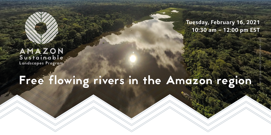 informational poster for Flowing Rivers in the Amazon webinar